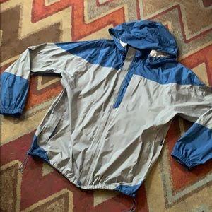 REI men's rain jacket blue grey xxl